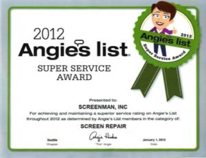 2012 Angie's List Super Service Award - Screenman